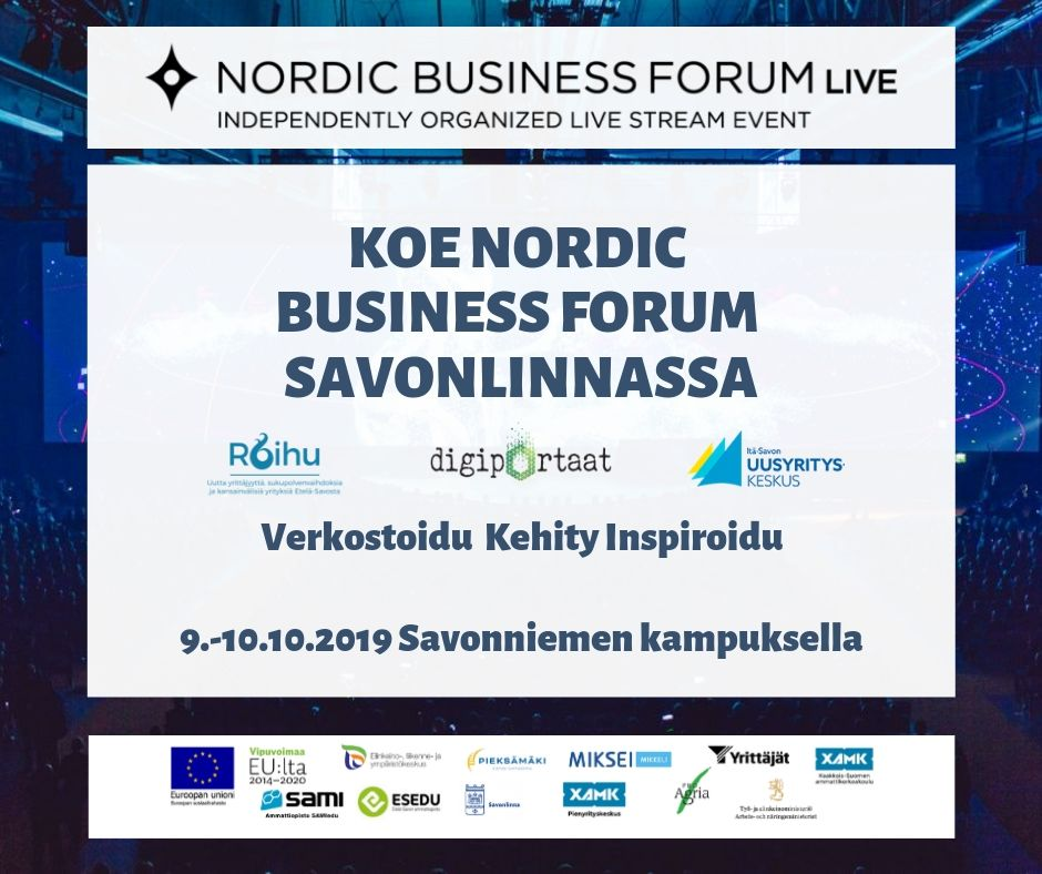 NBF live streamin oheisohjelma tuo huippupuhujia Savonlinnaan 9. – 10.10.19